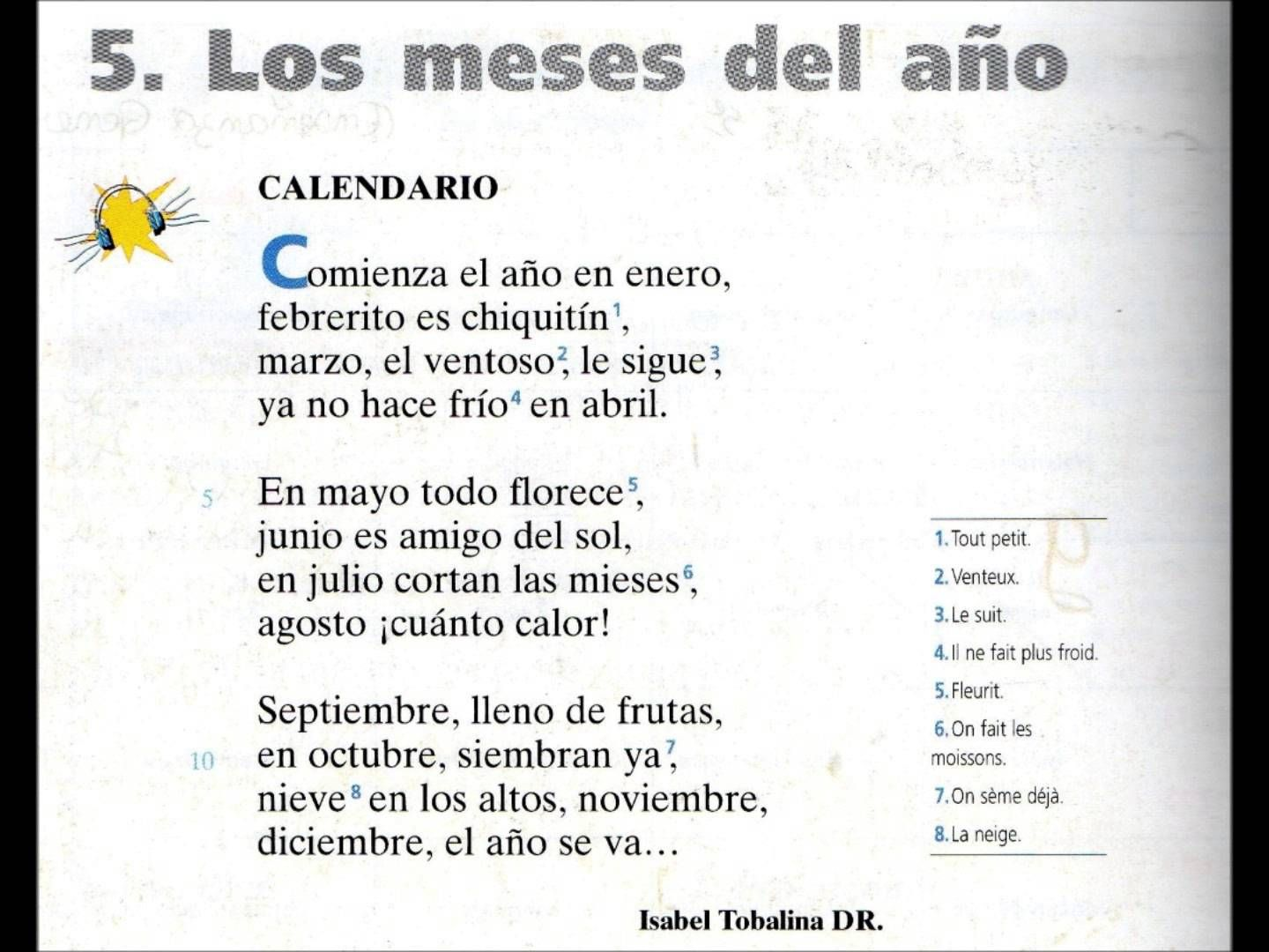 Meses Calendario Poema Los Meses Del Año Spanish 1 Unit 5 3 3