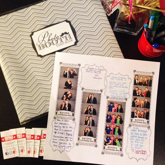 Chevron Photo Booth Guest Book, The pages are preprinted