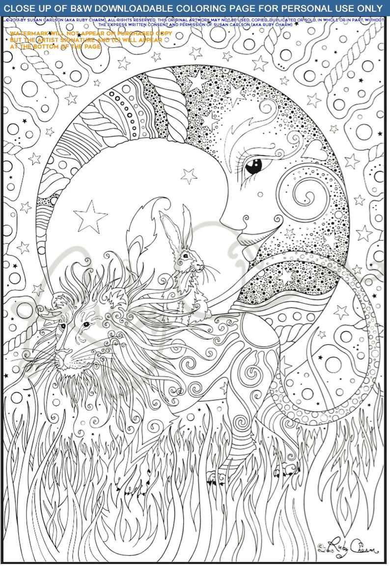 Lion Hare Moon Downloadable Printable Coloring Page Pdf Etsy Moon Coloring Pages Coloring Books Coloring Pages