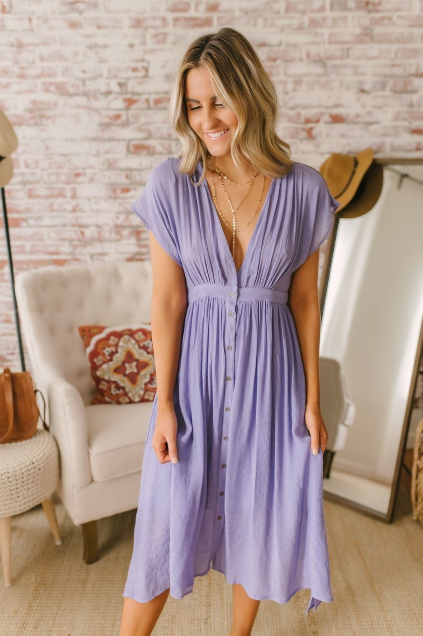Short Sleeve Button Down Midi Dress Tahitian Lilac Midi Short Sleeve Dress Short Sleeve Summer Dresses Spring Outfits Dresses [ 1280 x 853 Pixel ]