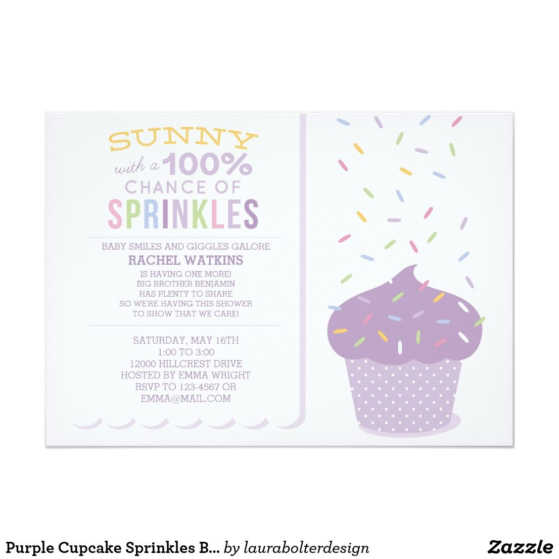 Purple Cupcake Sprinkles Baby Shower Invitation   Mom and Kids ...