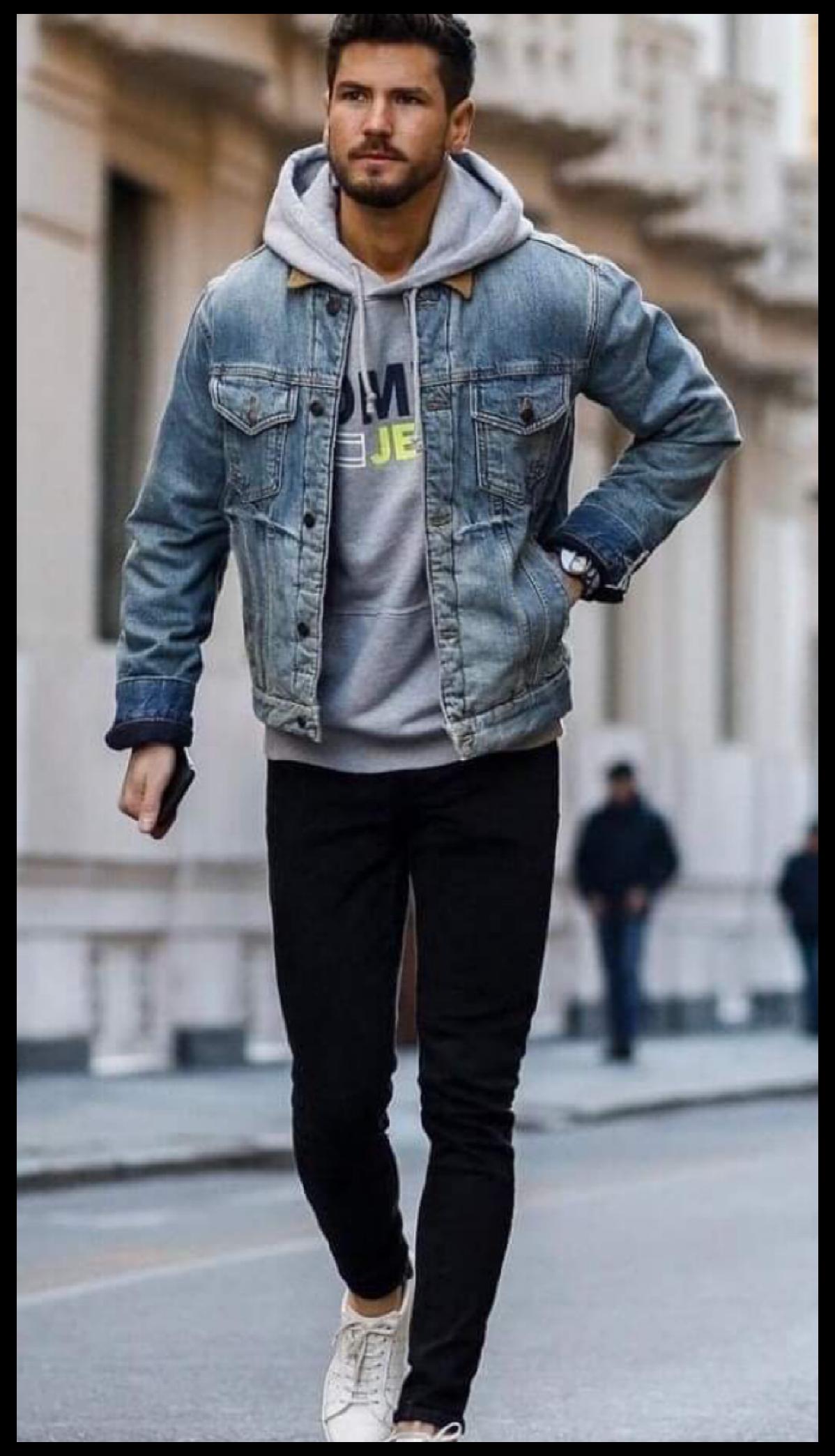 12 Denim Jacket Ootd For Men Denim Jacket Outfit Mens Men Street Denim Jacket Men Outfit Jean Jacket Outfits Men Mens Joggers Outfit [ 2088 x 1198 Pixel ]