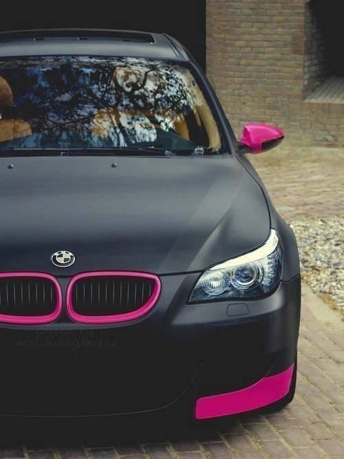 Flat Black With Pink Highlights Car Graphics Vehicle Wrap