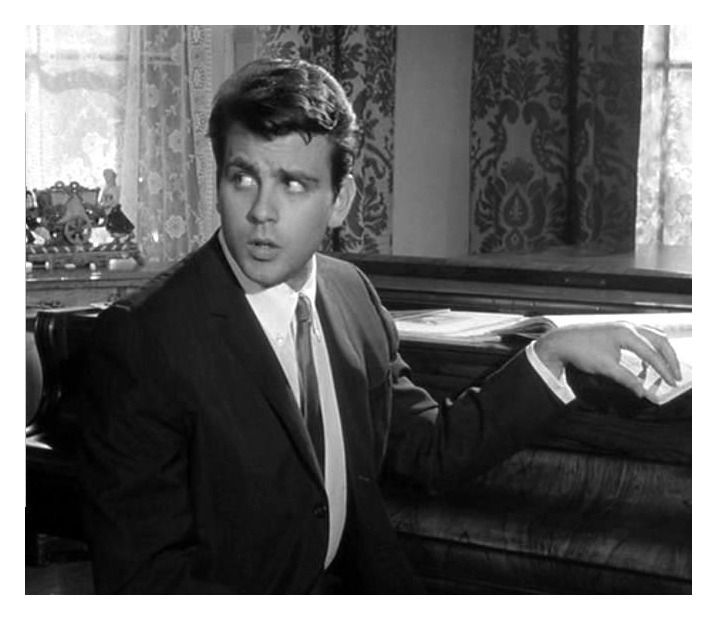 """Fabian as the sleazy nightclub singer in the 1965 version of """"10 Little Indians"""". The role gave Fabian an opportunity to shine in a dramatic role."""