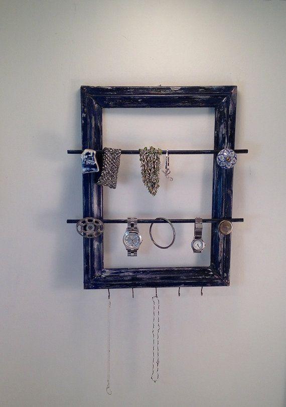 Jewelry Organizer Frame Distressed Navy BlueGrey by PippinPost