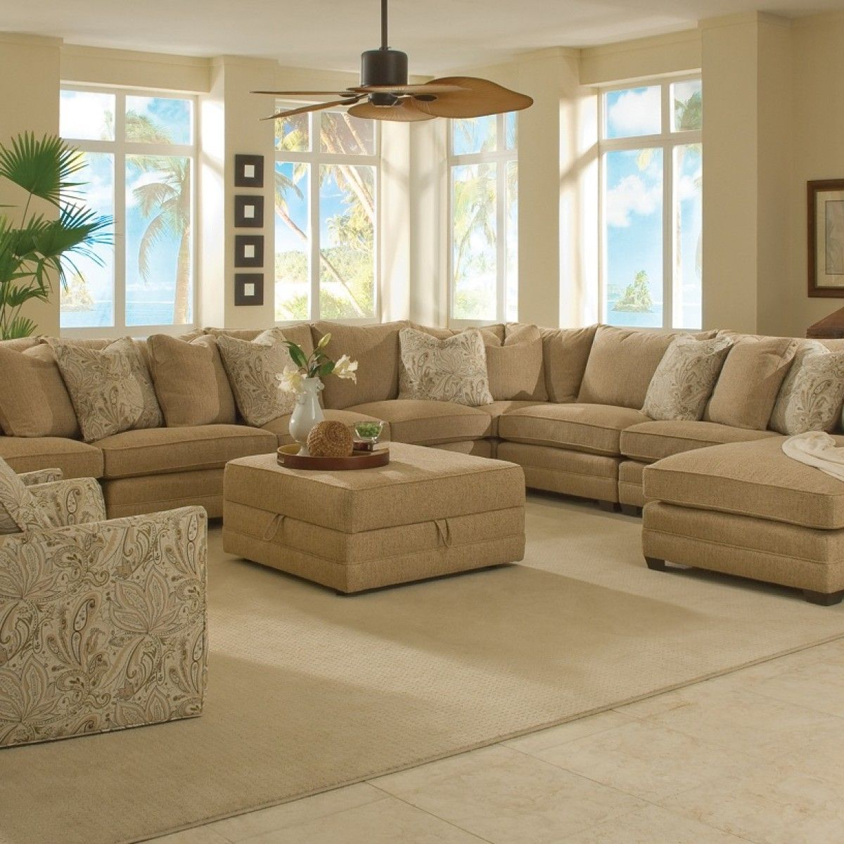 Magnificent large sectional sofas family room for Round couches for small living rooms