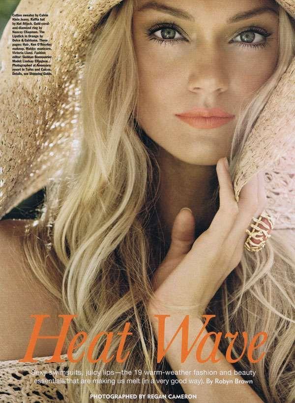 Essential Beachwear Editorials - Lindsay Ellingson Sparks a Heat Wave in Allure June 2011 (GALLERY)