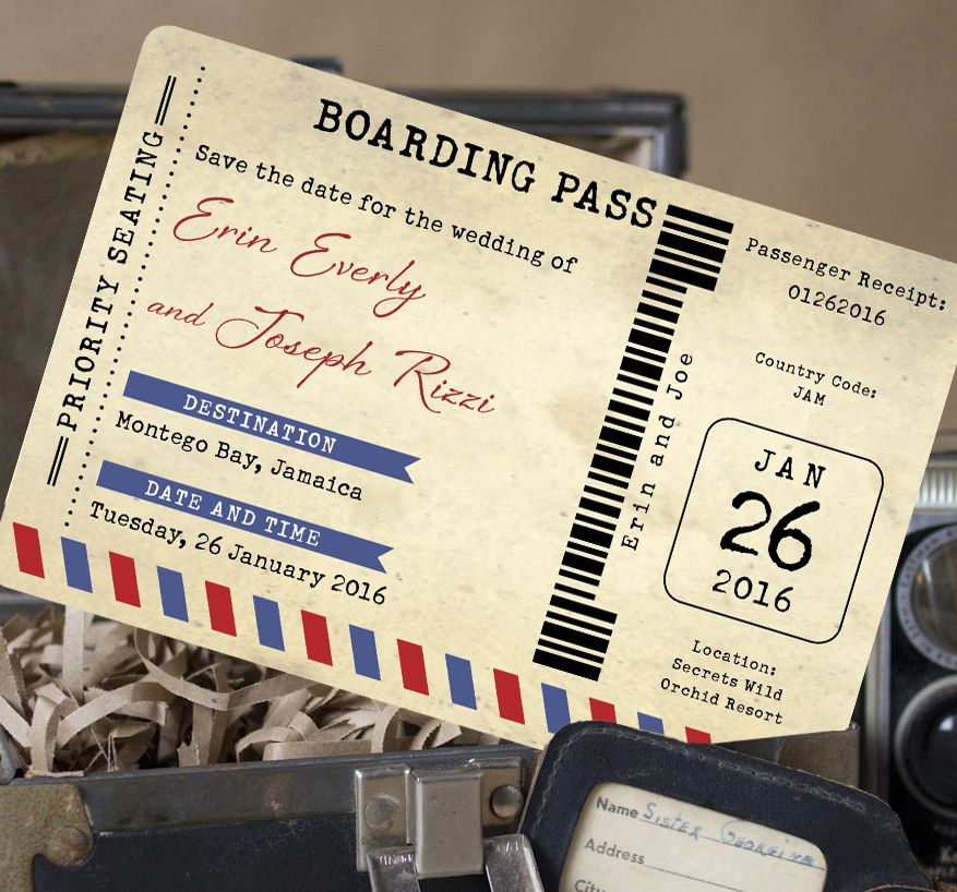 Air Mail Boarding Pass Postcard Save The Date Jamaica  Wedding