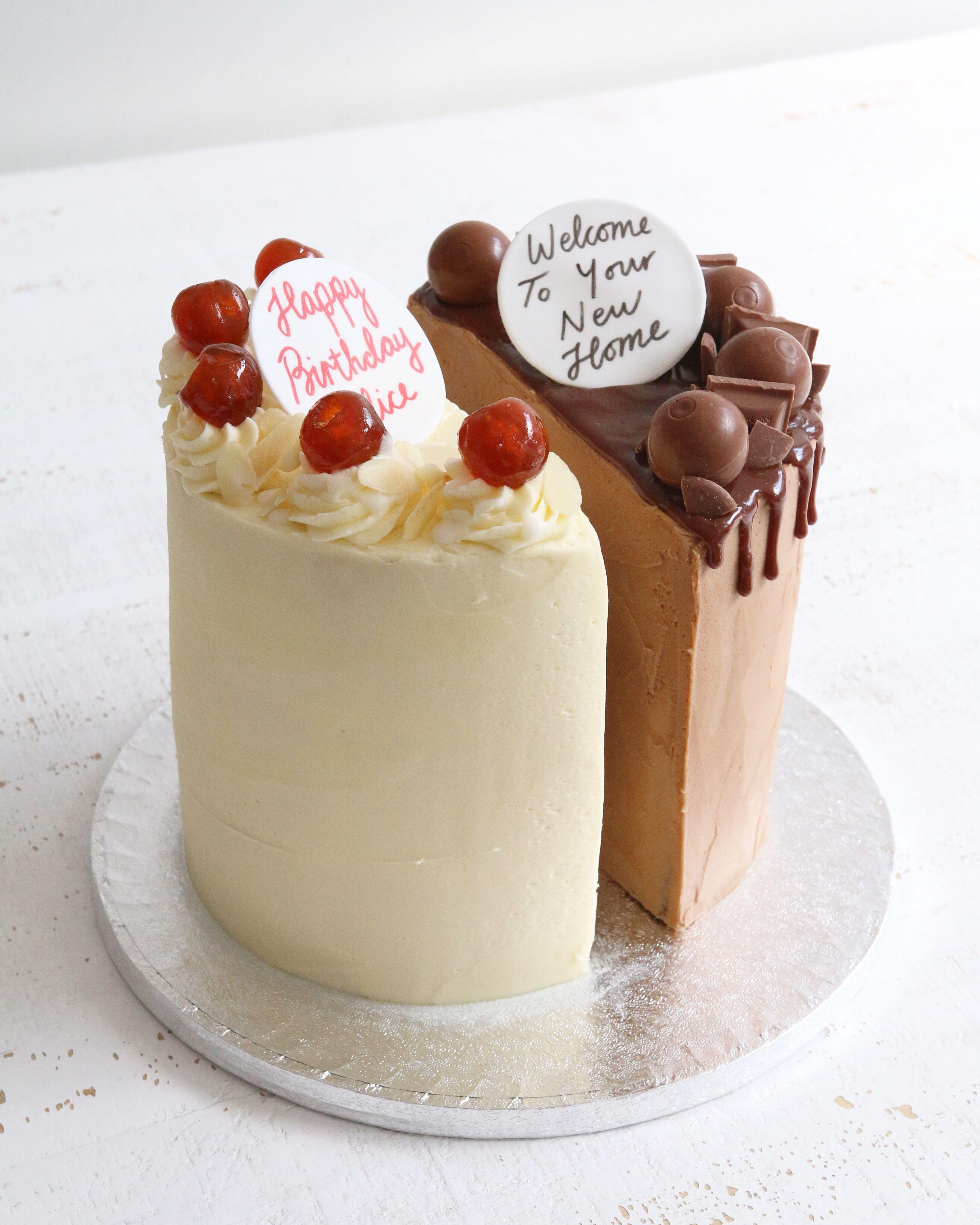 Half And Half Birthday Cake Half Birthday Cakes 14th Birthday Cakes Celebration Cakes