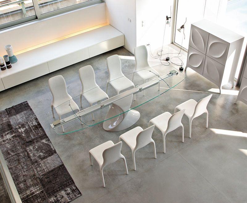 SHANGHAI, Tavolo con piano vetro, base scultorea ...