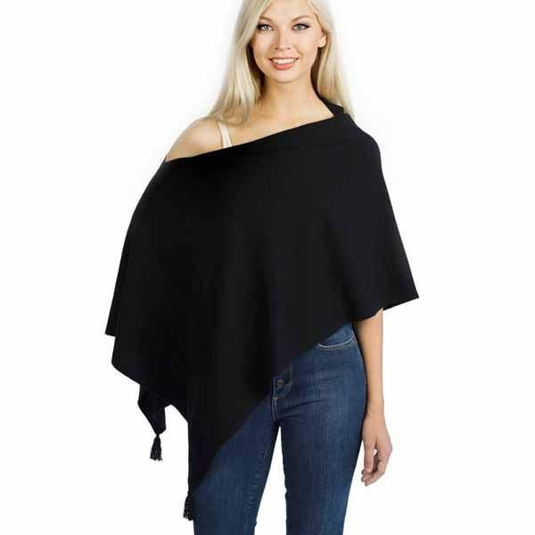 Catharine - Tassled Cashmere Shawl (Black)
