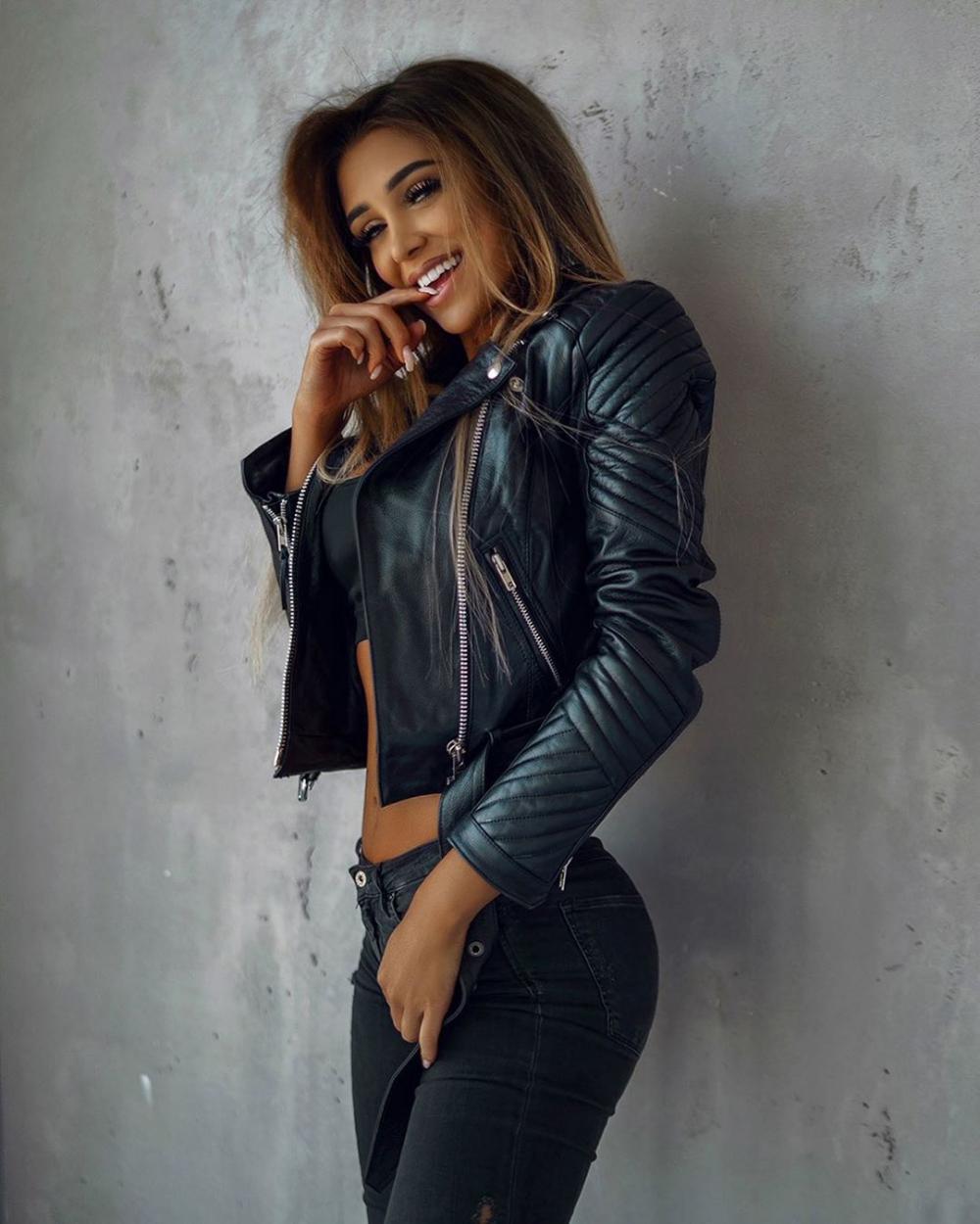 Ewa Staniszewska Bio Age Height Fitness Models Biography Fashion Leather Jacket Biker Jacket Outfit