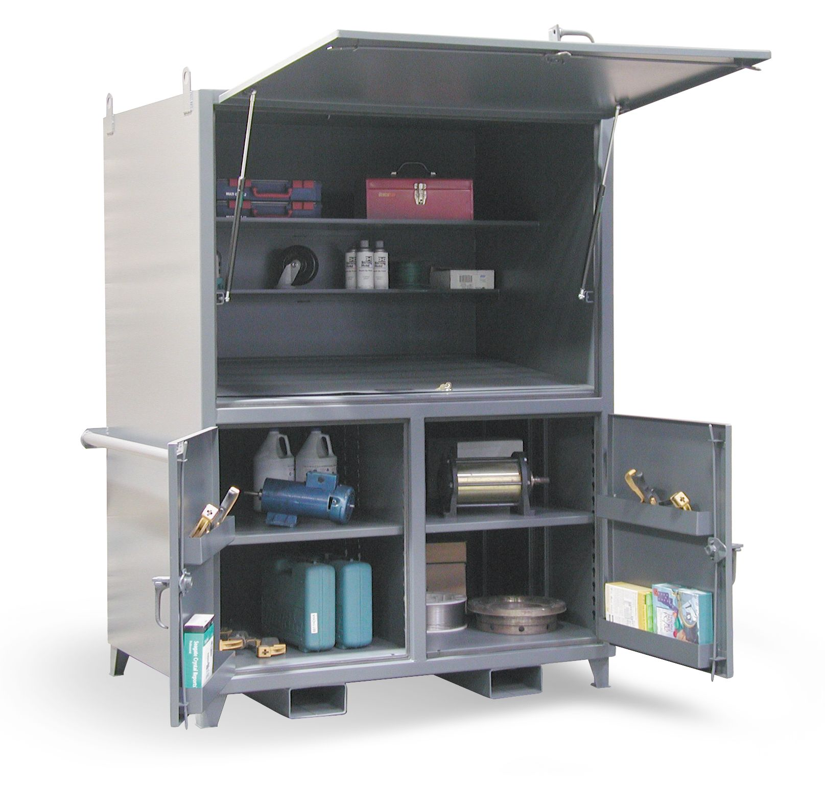 Lovely Portable Construction Storage Cabinet   Heavy Duty Work Site Job Box With  Lift Up Lid