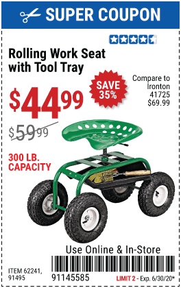 One Stop Gardens Rolling Work Seat With Tool Tray For 44 99 In 2020 Harbor Freight Tools Coupon Book Baseboard Trim