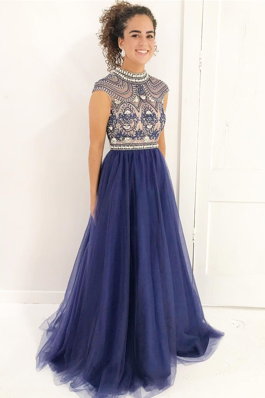 Custom made distinct blue prom dresses handmade beads navy blue long