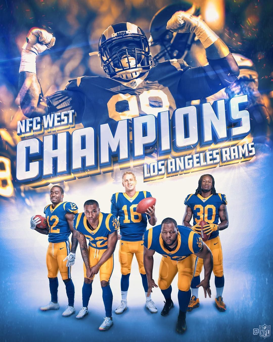 Nfl On Instagram Rams Nfc West Champs La Rams La Rams Football Rams Football