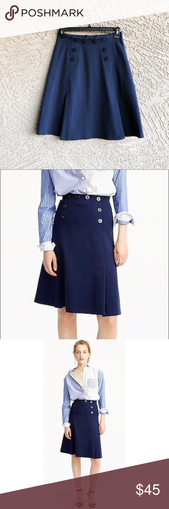 302c92a7c J. CREW Sailor Skirt In Ponte Navy Nautical Skirt Navy nautical button front  A-line skirt in excellent condition. ✨OFFERS WELCOME✨ J. Crew Skirts A-Line  ...