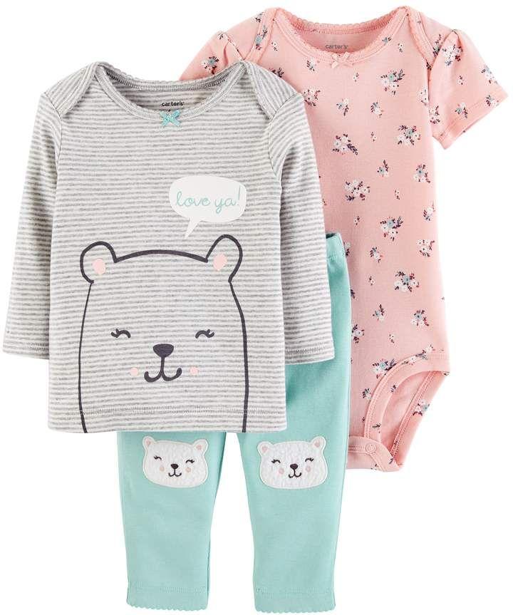 e754ffec2356 Baby Girl Carter s 3-pc. Bear Tee