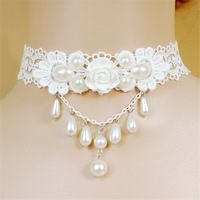 Wrap Tassel Drop Pearl Court Necklace White Lace Flower Decor Choker for New Wedding Bridal