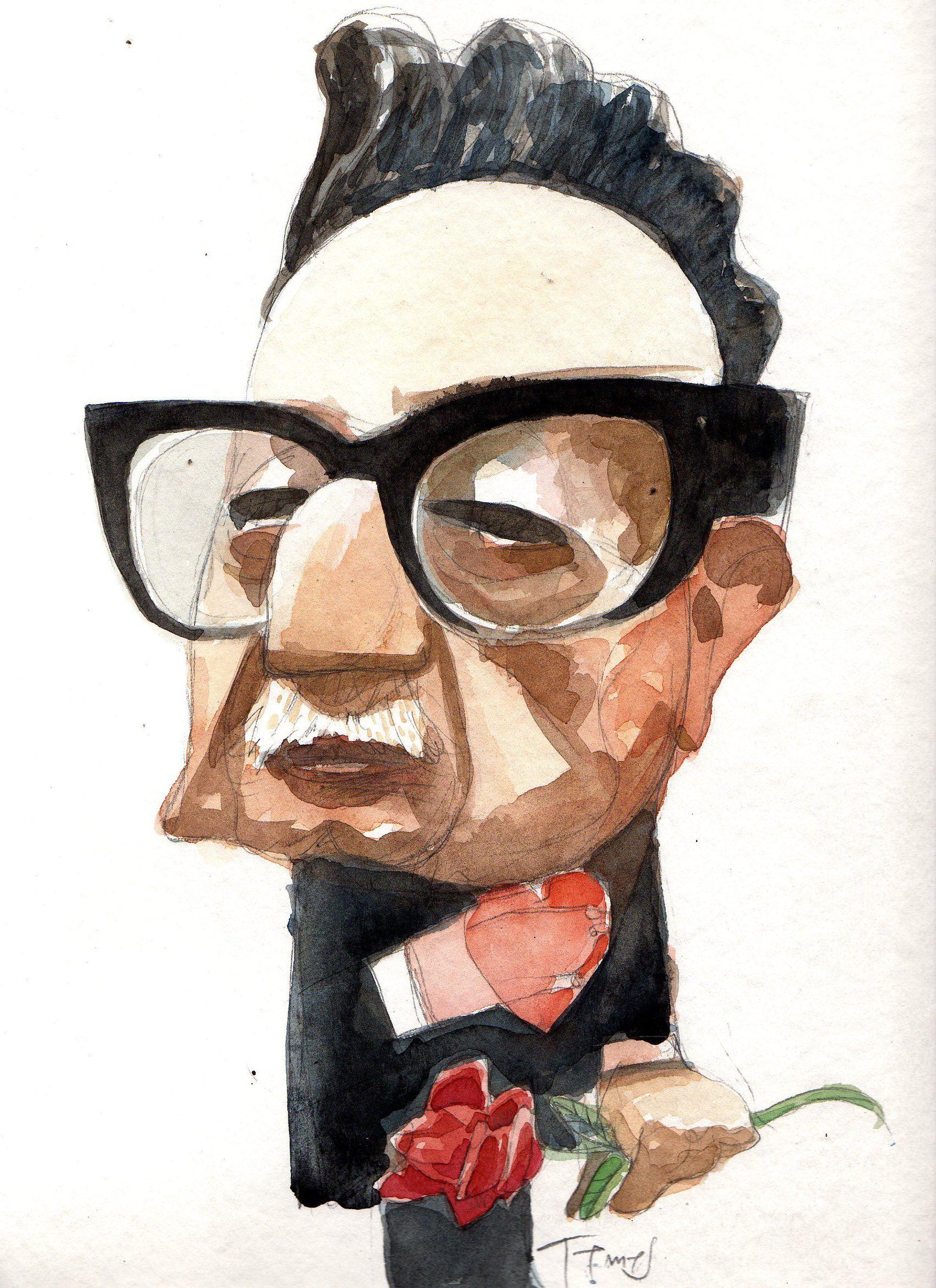 Salvador Allende Watercolor Caricatura Editorial Dibujos Arte