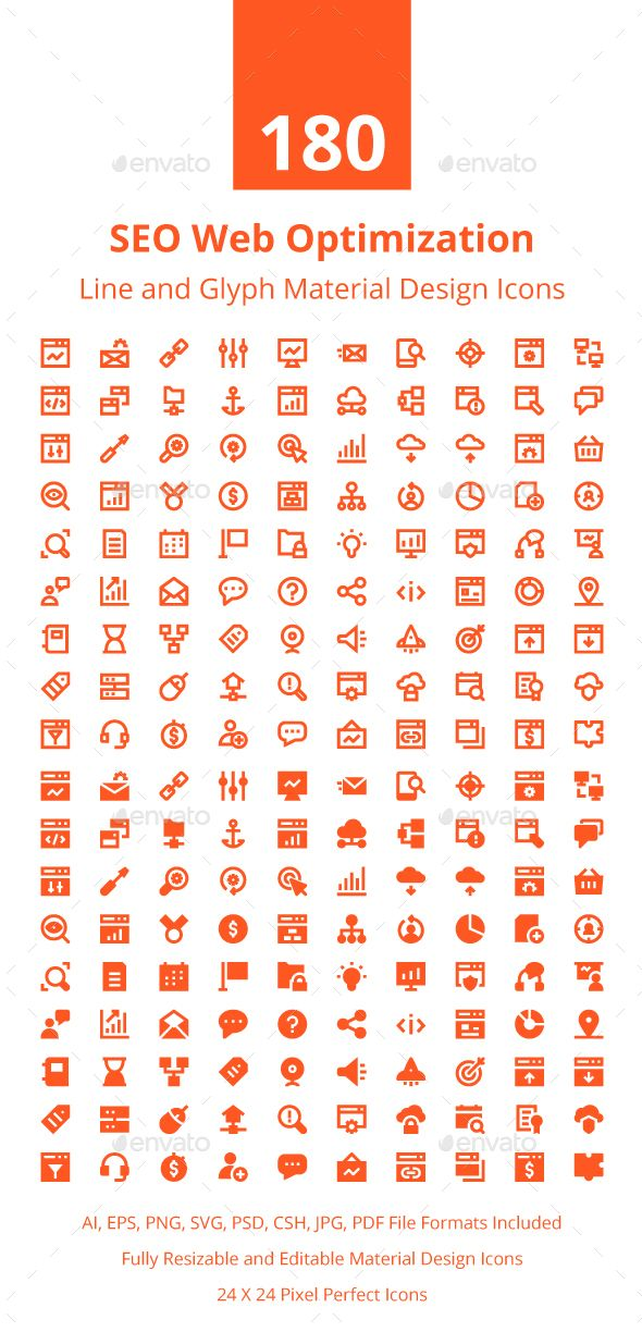 Seo Web Optimization Material Icons | Icons | Glyph icon