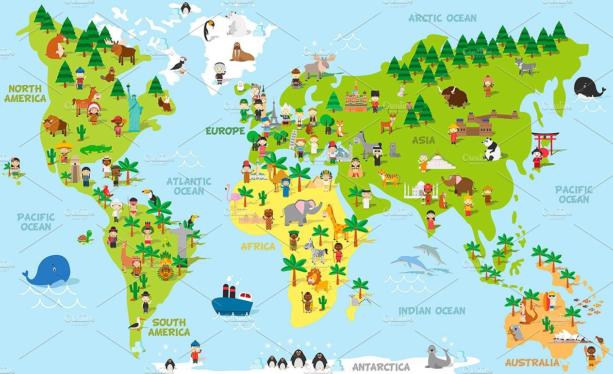Cartoon World Map With Kids And More Continents And Oceans