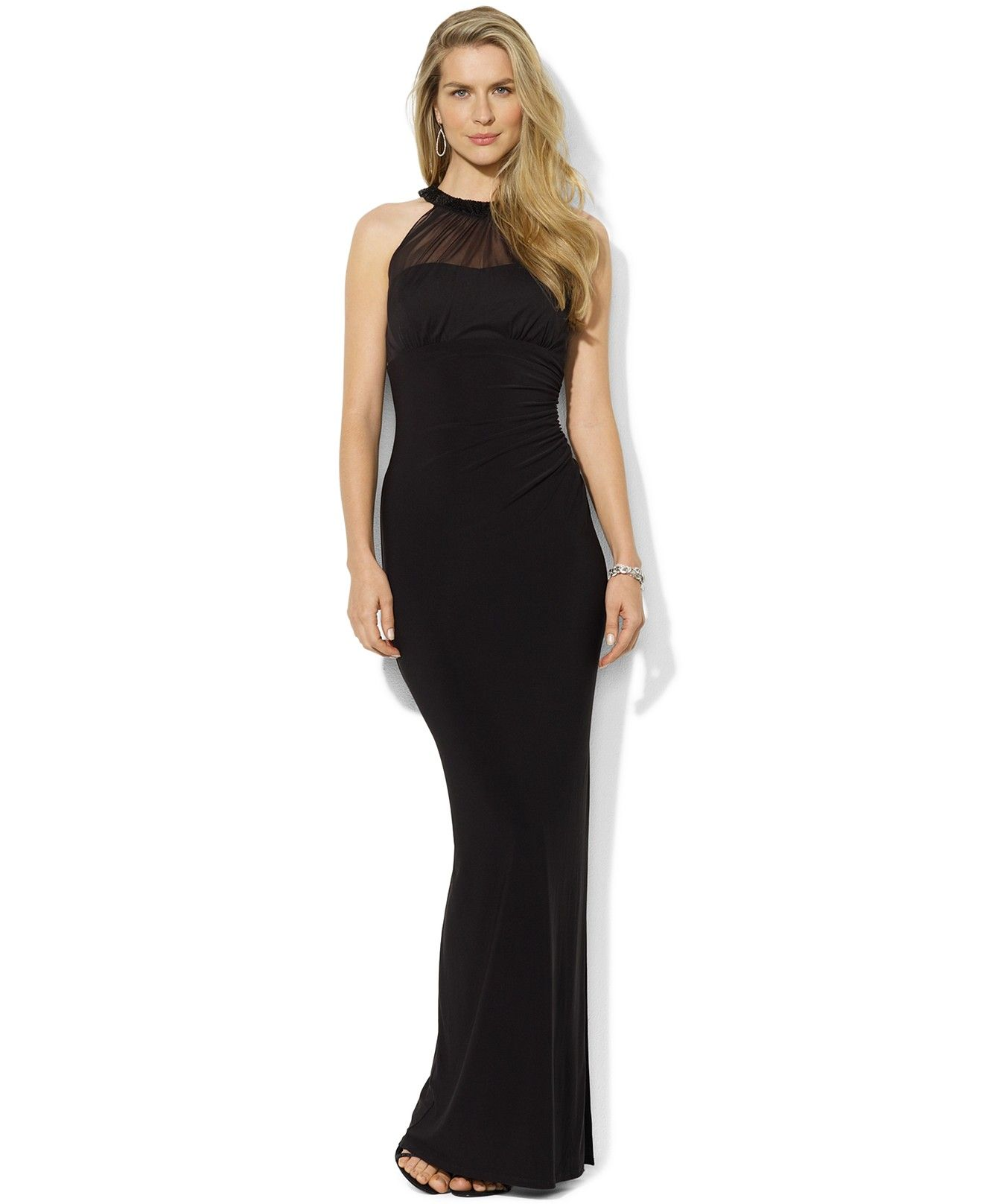 Lauren ralph lauren sleeveless mesh beaded gown dresses women bride dresses ombrellifo Images