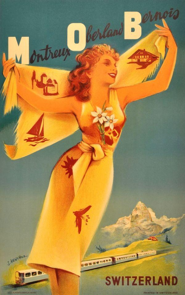M O B Suisse vintage swiss ski reosrt travel poster repro 16x24