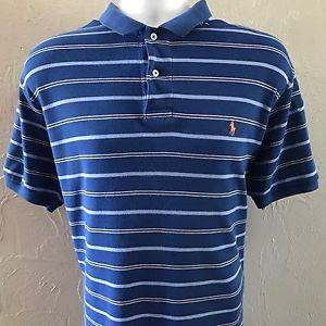 a763a8b83b5ee0 Polo by Ralph Lauren Men s Large Shirt - Blue White Stripes Orange Short  Sleeve   eBay