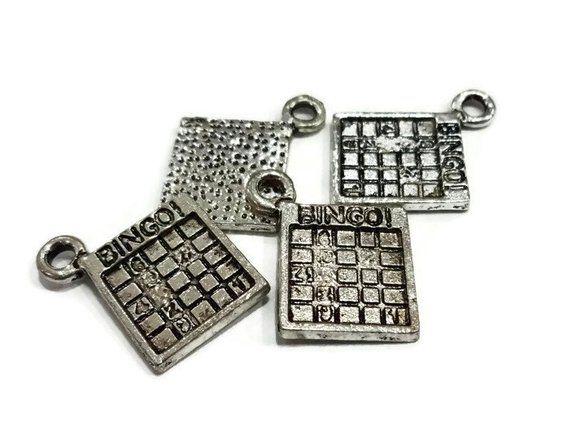 50 BULK Bingo BINGO Card Charms 17x15x1mm Hole Approx 2mm
