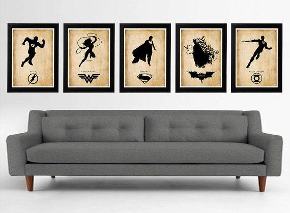 Justice League 5 Minimalist Poster Set, Superman, Batman, Wonder Woman,  Flash,. Green Lantern ...