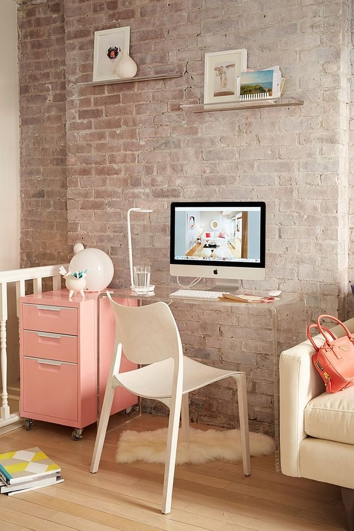 small corner workspace with transparent desk and a pastel pink rh pinterest com