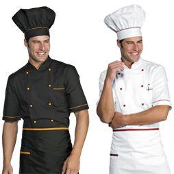 Chaquetas cocinero manga corta uniformes pinterest for Uniformes de cocina precios