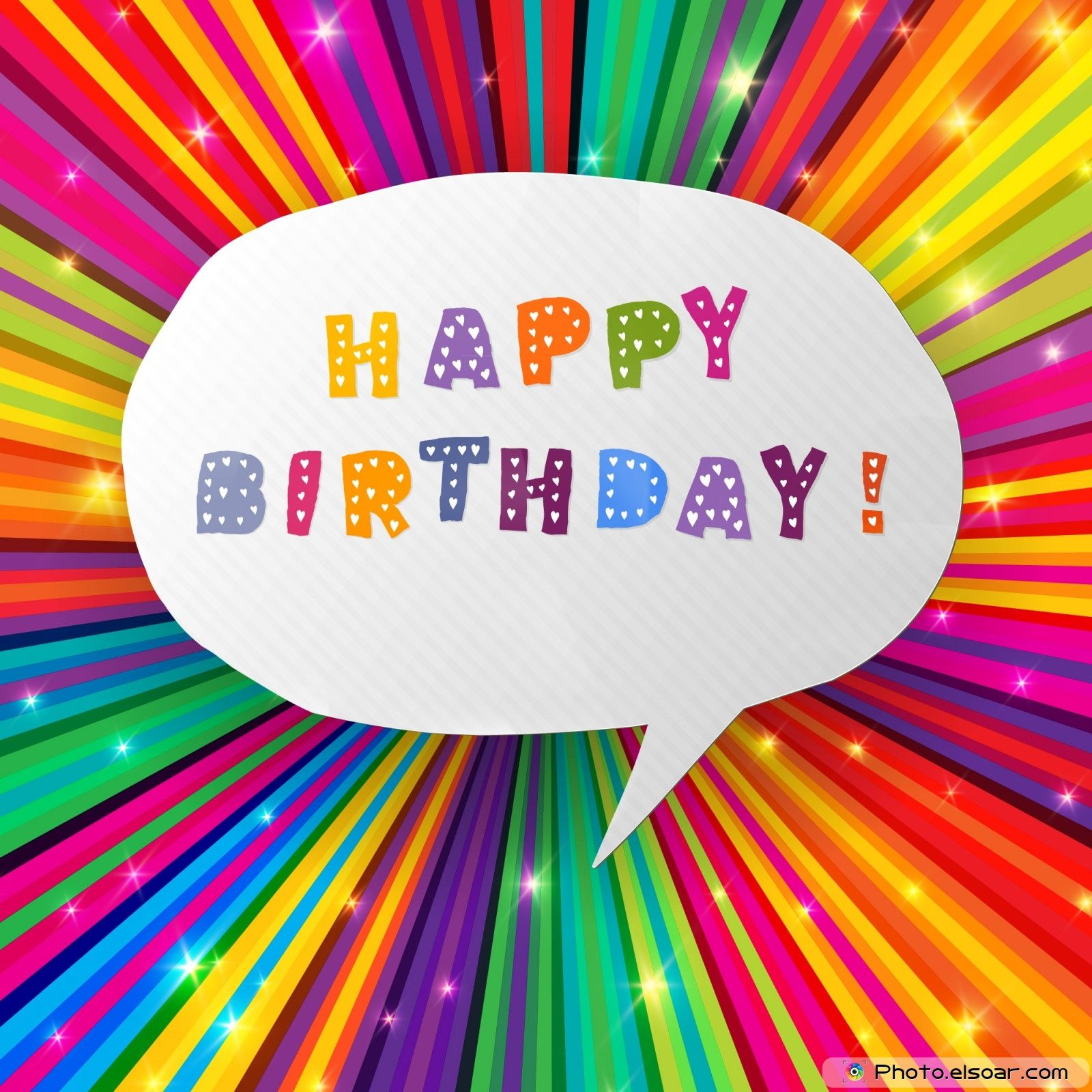 Happy birthday card on colorful rays background