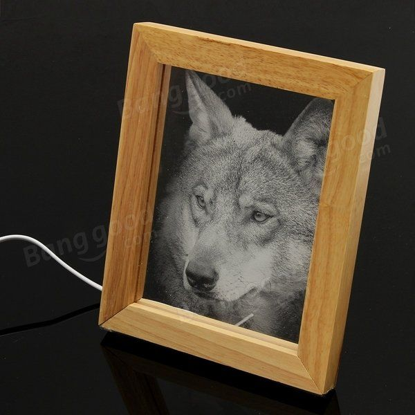 Led 3d Wolf Wooden Photo Frame Night Light Table Desk Lamp Decoration