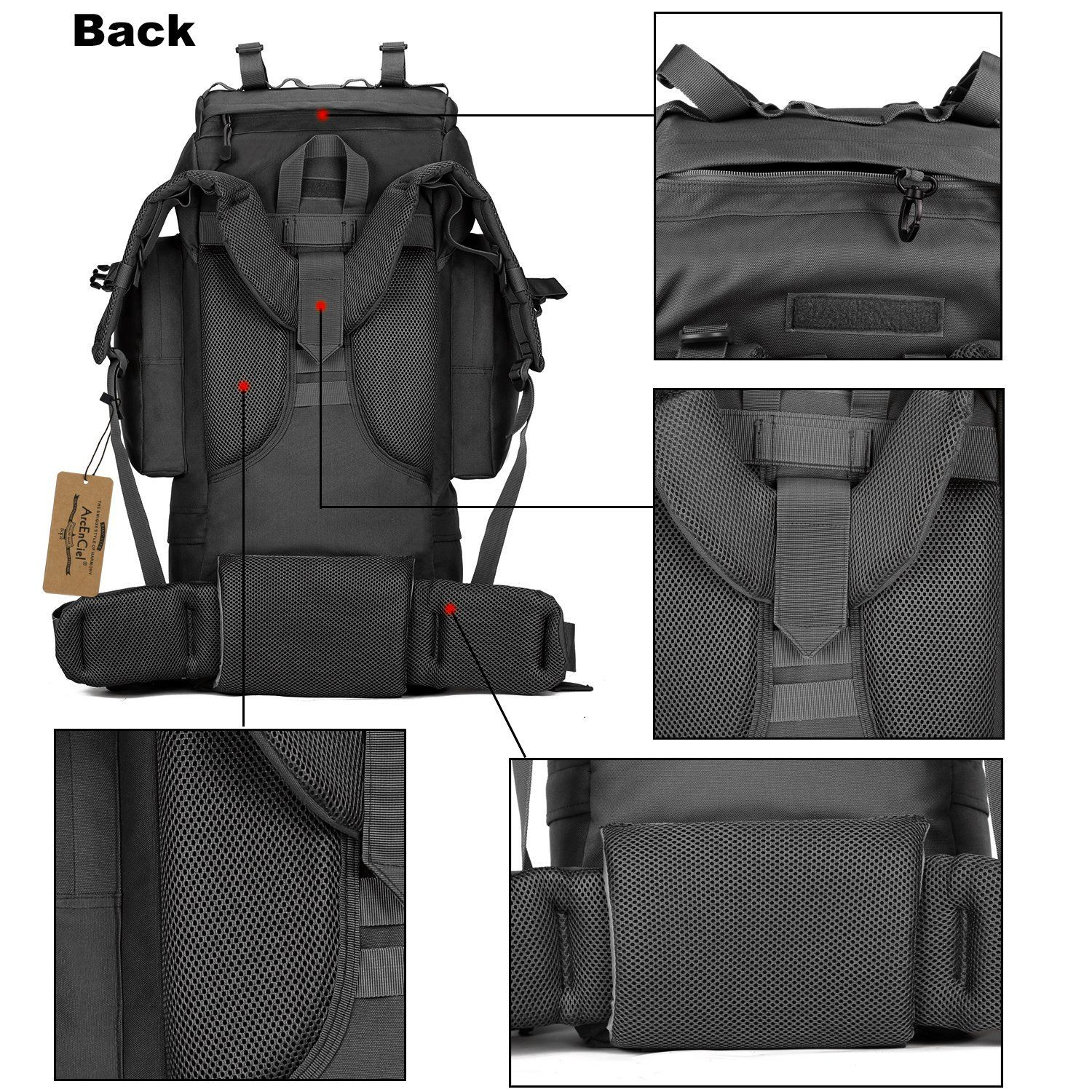 eb88d54b1952 ArcEnCiel 65L Waterproof Tactical Giant Hiking Camping Backpack with Rain  Cover    Additional info  CampingGear