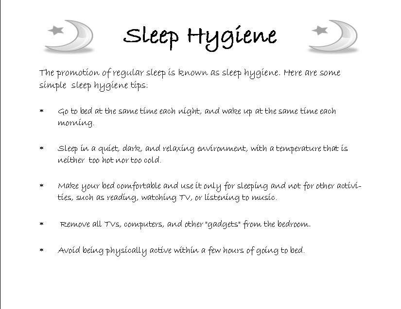 sleeping hygiene Sleep Hygiene Sleep Pinterest