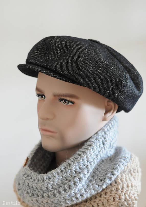 Black newspaper boy hat Womens tweed hat Mens newsboy cap Women ... 48eaeb5b4abe