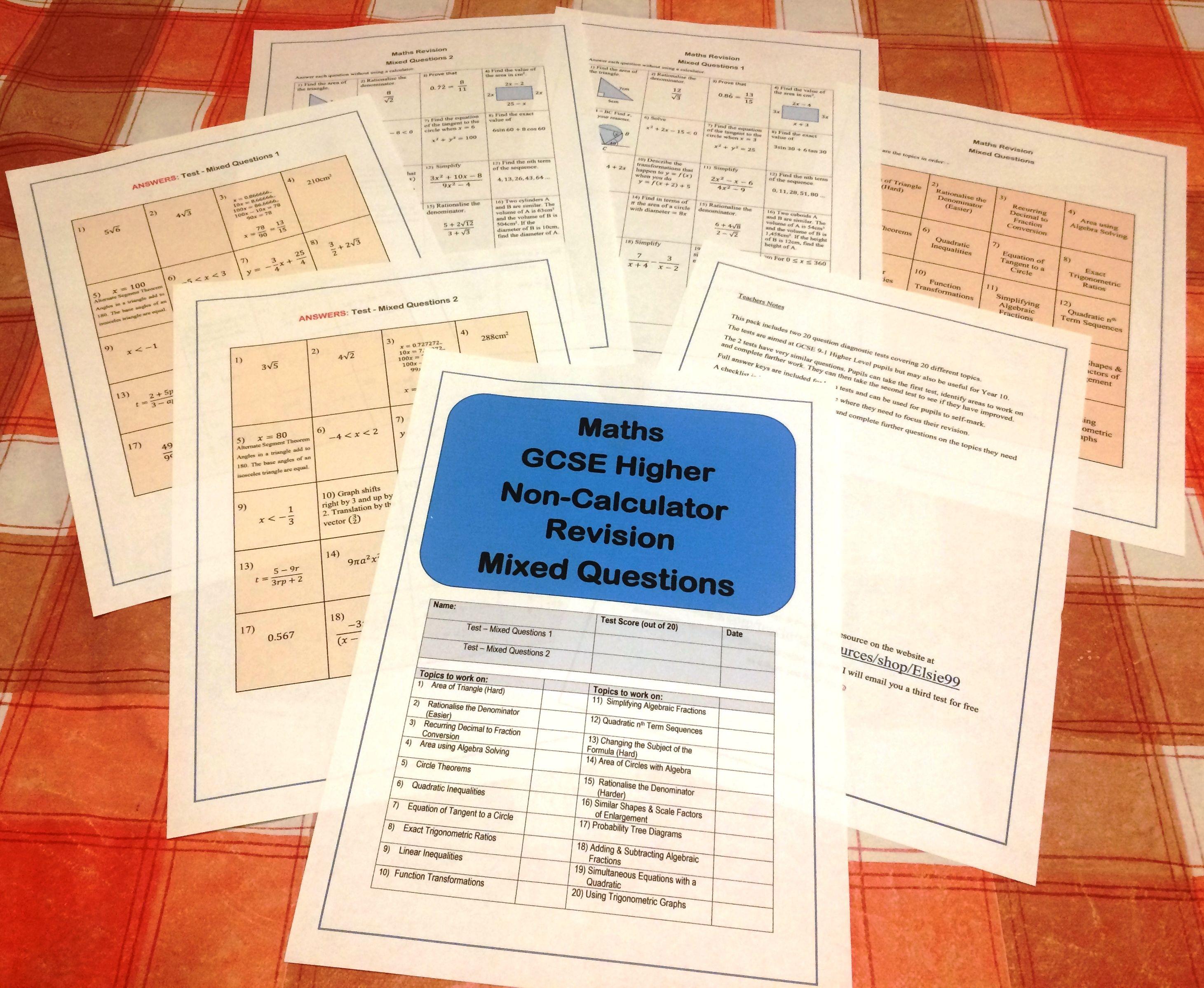 Maths Gcse 9 1 Higher Non Calculator Questions
