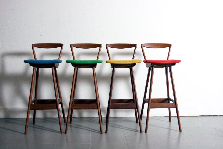 Danish Modern Hansen Teak Bar Stools Denmark 1960 S Mid Century