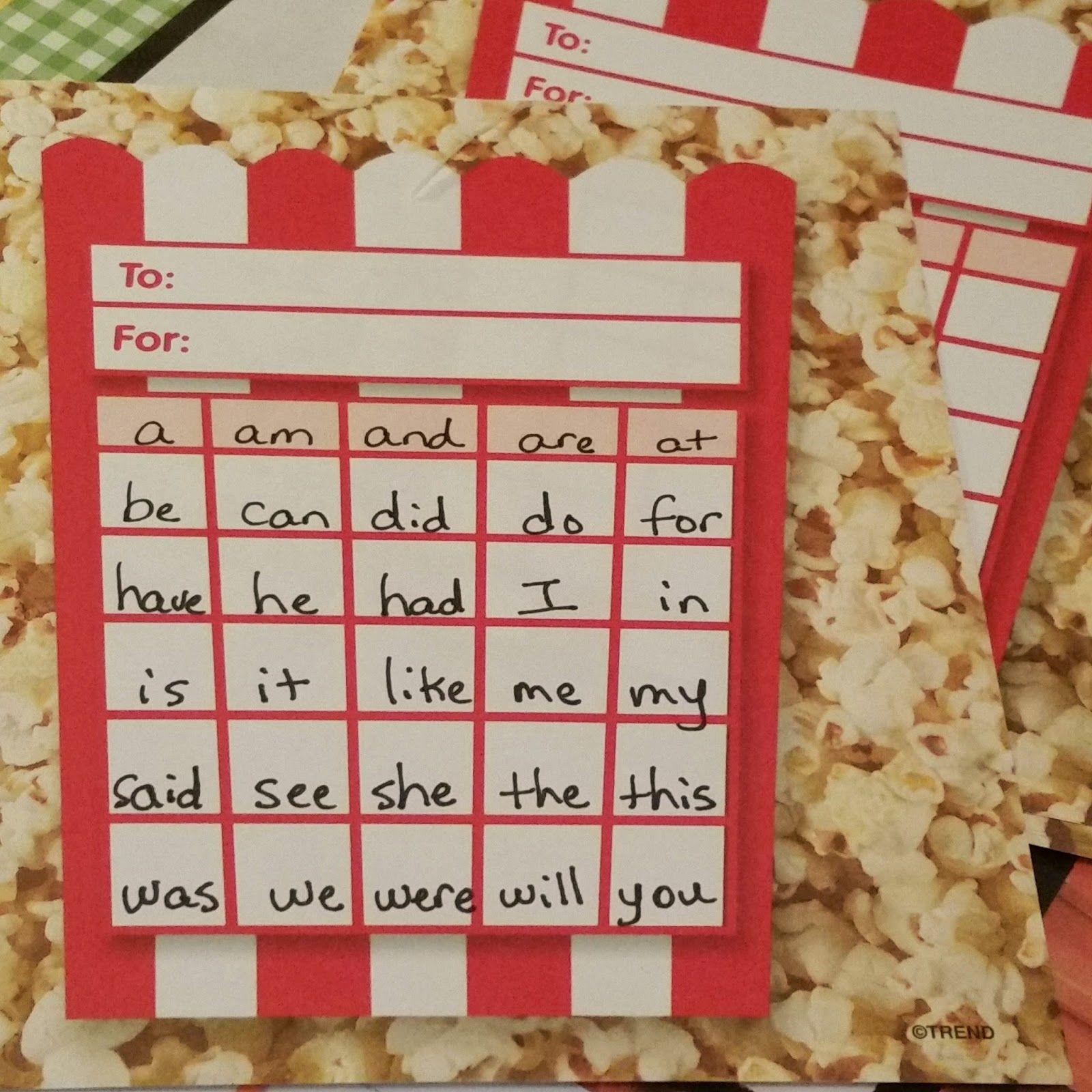 Popcorn Sight Word Incentive Chart