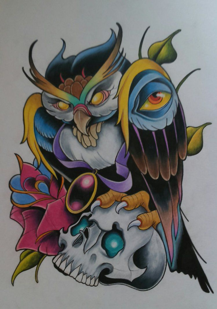 New School Owl Tattoo Design By Sallysimon67 With Images Owl