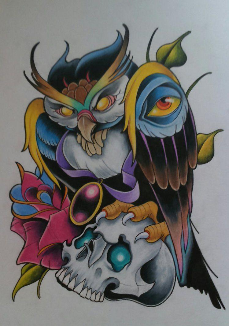 New School Owl Tattoo Design By Sallysimon67 Tat It Up Tattoos