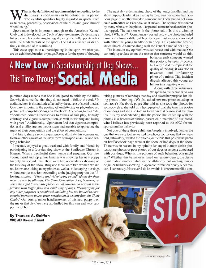 A new low is showing. Page 1 of 2. Article can be found in the June 2014 Canine Chronicle.