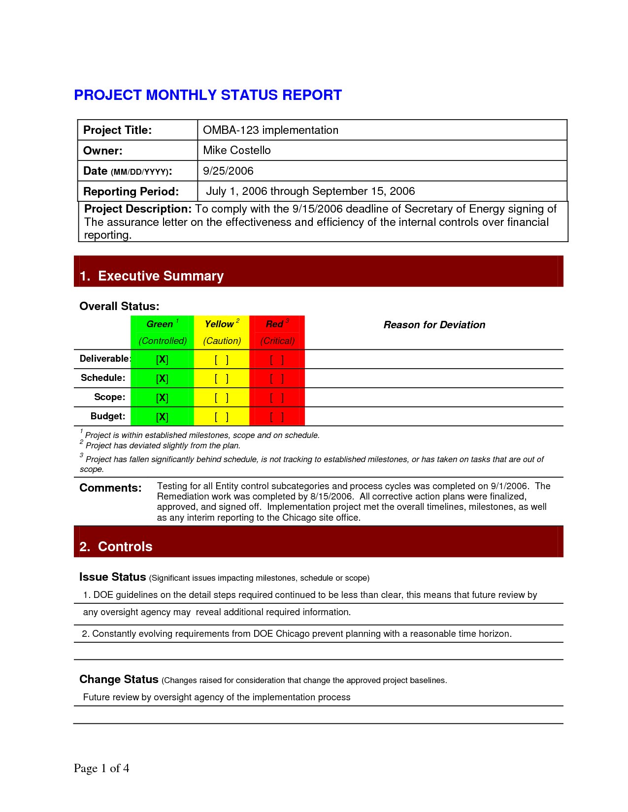 Project status report template 1275 1650 for Financing construction projects