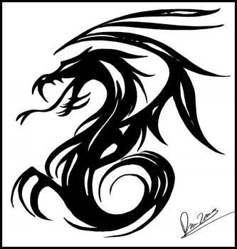How To Draw Tribal Dragon Art By Dawn Tribal Drawings Dragon Art Simple Dragon Drawing