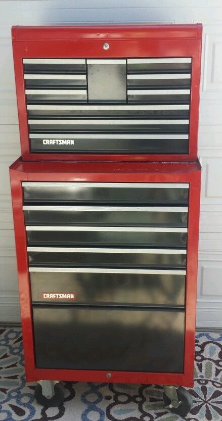 craftsman tool box 2 pieces, 15 drawers + 2 storage spaces 2 lock ...