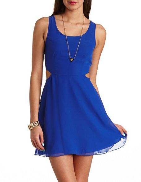 642f16afaff Chiffon Cut-Out Skater Dress  Charlotte Russe