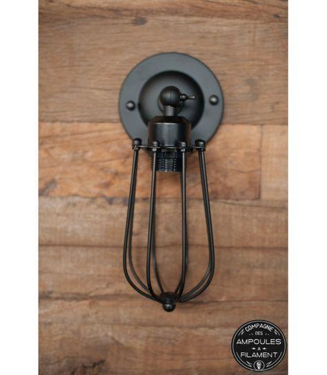 Applique murale Vintage à Cage style industriel - Pour Ampoule à ...