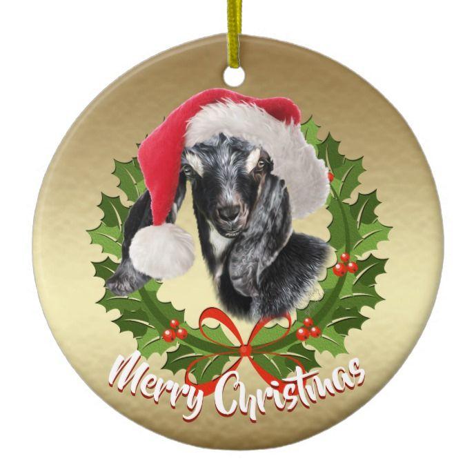goat nubian kid santa hat christmas ornament custom christmas holiday decor